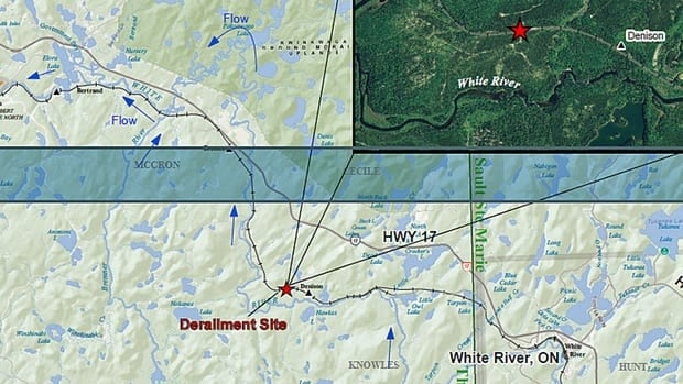 A Ministry of the Environment map of the train derailment site near White River, Ont. The accident happened just before 8 a.m. on Wednesday, when a Canadian Pacific freight train left the track and 22 cars were derailed. A tank car leaked several hundred litres of crude oil.