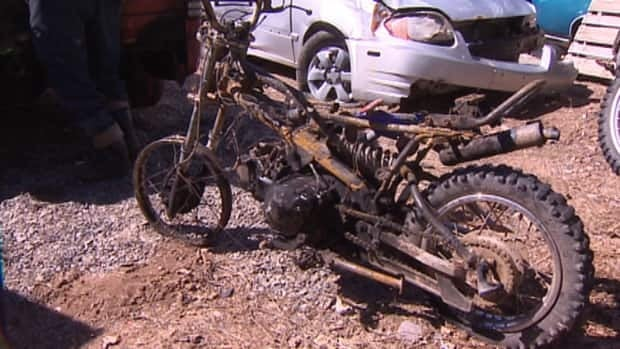 The man who crashed this motorcycle suffered serious burns and was taken to the Valley Regional Hospital.