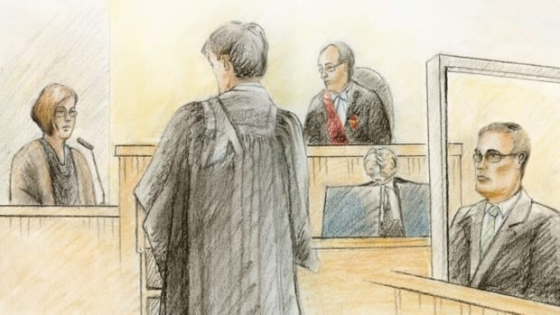 In this artist's sketch, Terri-Lynne McClintic testifies at the trial of Michael Rafferty in London, Ont., on March 13, 2012. From left to right: McClintic, Crown attorney Kevin Gowdey, Ontario Superior Court Judge Thomas Heeney and Rafferty.