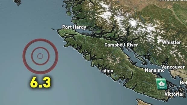 The quake occurred along a fault off the coast of Vancouver Island.