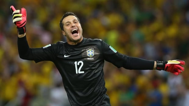 Julio Cesar of Brazil celebrates during the match between Brazil and Mexico at Castelao on June 19, 2013 in Fortaleza, Brazil.