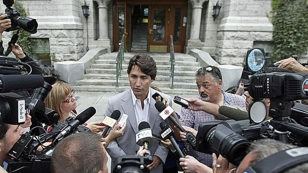 Liberal Leader Justin Trudeau faced questions from the media in Quebec City Thursday following published comments on his marijuana use.