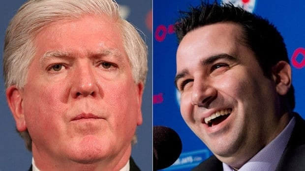 Over the past three-plus years, the friendship between fired Toronto Maple Leafs GM Brian Burke, left, and his Blue Jays counterpart Alex Anthopoulos, has helped the latter gain the experience needed to help in his attempts to build a playoff contending team.