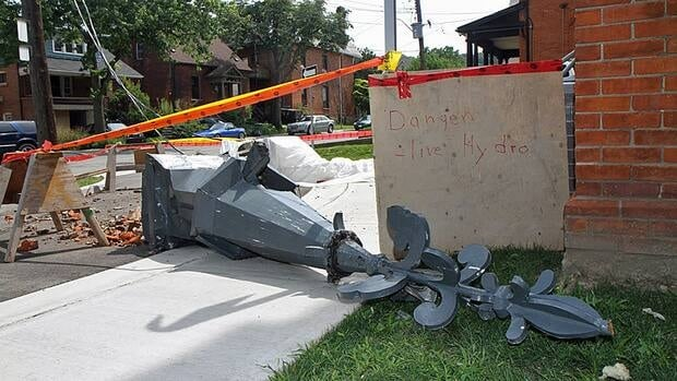 This steeple was knocked off the First Christian Reformed Church at Charlton and Hess during Friday's intense storm.