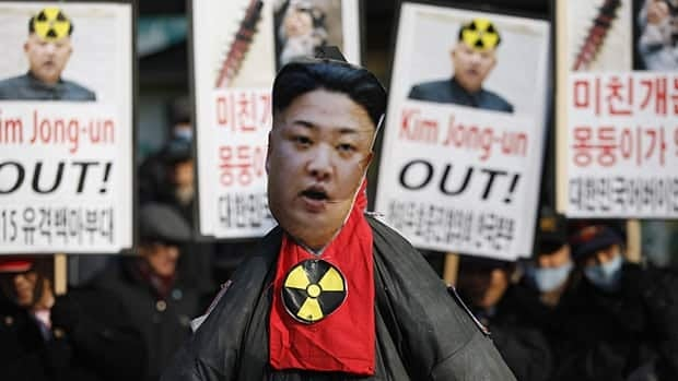 Activists from a civic group held a protest Tuesday following North Korea's nuclear test near the U.S. embassy in Seoul.