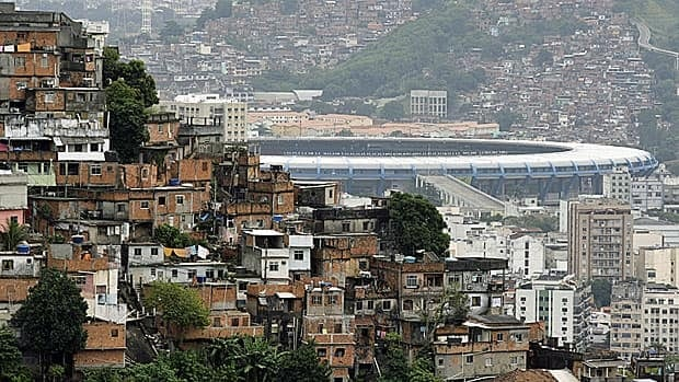 Macarana stadium, sited between Turano and Mangueira slums, in May 2010 before the renovations began. At least $300 million US is being spent on building a smaller, more modern stadium. See bottom of page for current status.