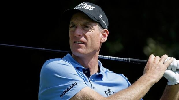 Jim Furyk tees off the third hole during the second round of the Tour Championship golf tournament on Friday in Atlanta.
