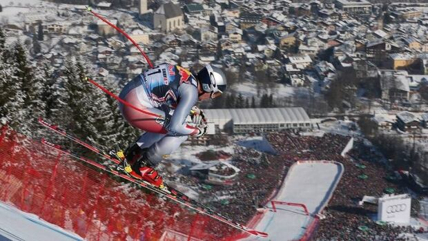 Here's Erik Guay mid-jump during his second-place run at the World Cup men's downhill event on Saturday in Kitzbuehel, Austria.