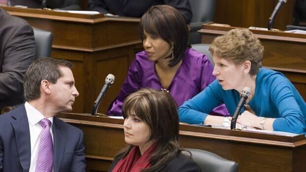 Margarett Best is seen in conversation with then-premier Dalton McGuinty and future Premier Kathleen Wynne in this photo taken in the legislature in January 2009.