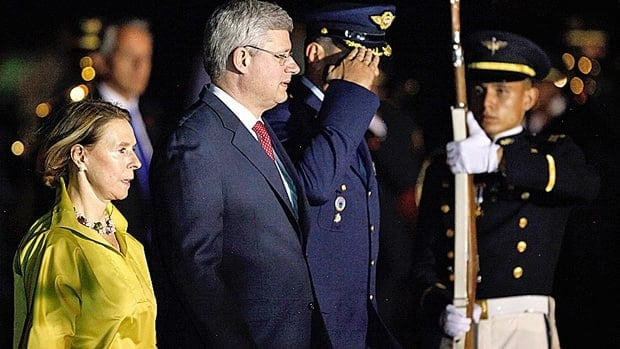 Prime Minister Stephen Harper, centre, arrived in Cali, Colombia Wednesday, where some of Latin America's biggest trading nations, including Mexico, Chile, Colombia and Peru, are looking to lower trade barriers as they gather for a two-day summit.