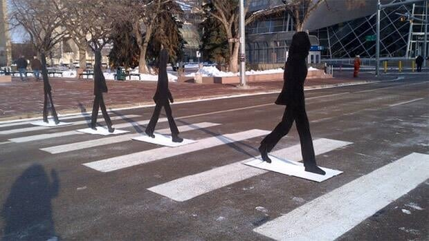 The city has turned 102A Avenue into Abbey Road to commemorate Paul McCartney's two concerts at Rexall Place.