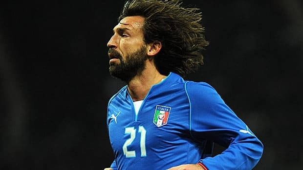 Andrea Pirlo, seen in a friendly in March, debuted with the Italian national side in 2002.