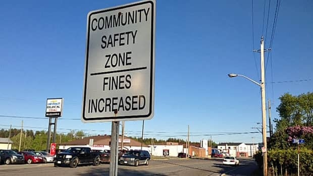 A Community Safety Zone sign in Espanola, where the town has earned a reputation for giving out hefty speeding tickets.