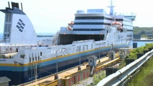 The MV Blue Puttees will be drydocked in Halifax for repairs to its bulbous bow until at least the end of August.