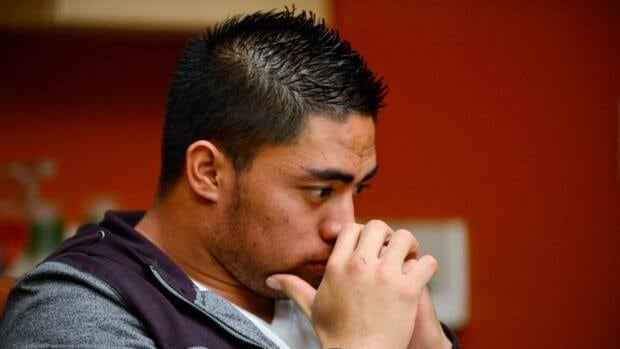 In a photo provided by ESPN, Notre Dame linebacker Manti Te'o pauses during an interview with ESPN on Friday in Bradenton, Fla.