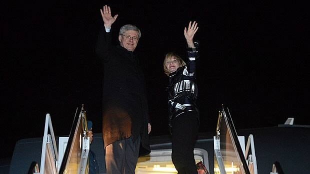 Prime Minister Stephen Harper and wife Laureen left Ottawa early Tuesday, heading to London for the funeral of former British prime minister Margaret Thatcher.