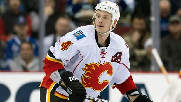 Jay Bouwmeester has six goals and nine assists in 33 games with the Flames this season.