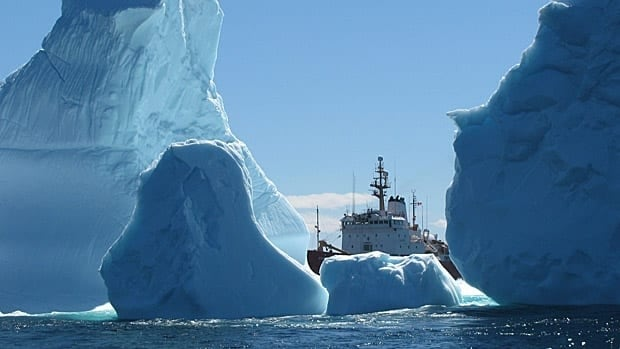 An iceberg cluster surrounds the Canadian Coast Guard Ship Ann Harvey on June 8, 2013, about 60 nautical miles east of Makkovik, Labrador. The coast guard says the largest iceberg cluster it has seen in recent years is drifting south off Labrador near the Strait of Belle Isle.
