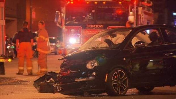 Montreal police say an early morning collision happened when a vehicle ran a red light.