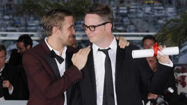 Ryan Gosling, left, congratulates director Nicolas Winding Refn after the latter's best-director win for Drive at the 2011 Cannes Film Festival.