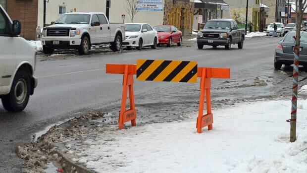Barriers like this one on Algoma Street in Thunder Bay are supposed to alert drivers to the presence of extended curbs, which are designed to slow traffic. The city says it is looking for a more permanent solution, which may involve planters.
