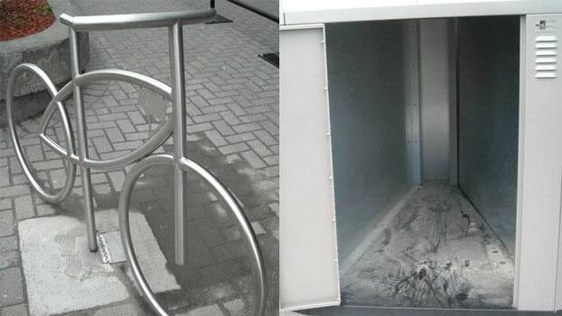 A group of Sudburians is on the lookout for the ideal way to park bikes around the city. At left is an artistic version of a bike rack. At right is a bike locker, which can be found at the city's hospital.