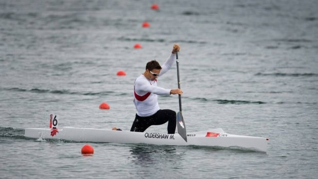 In this Aug. 8, 2012, file photo, Canada's Mark Oldershaw canoes to bronze in the men's 1000-metre canoe single (C1) final at Eton Dorney during the London Olympics.