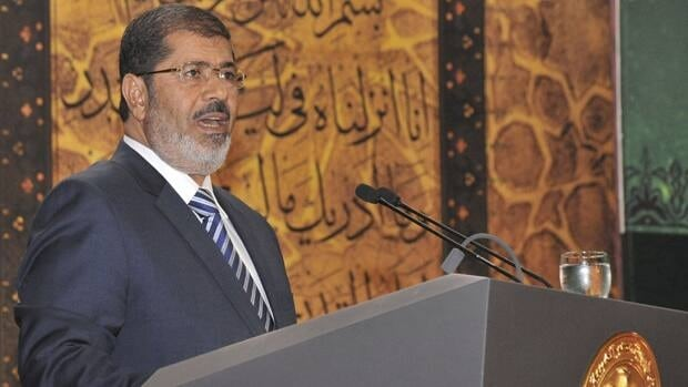 Egypt's President Mohamed Morsi speaks during the Laylat al-Qadr at Egypt Al-Azhar Conference Center in Nasr City in Cairo August 12. Handout/Reuters