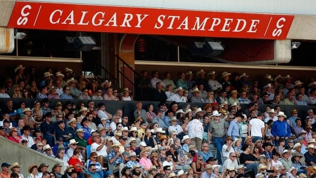 Fans watch bull riding rodeo action at the Calgary Stampede last Wednesday.