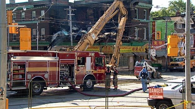 The four-alarm fire at 361 Broadview Ave., has forced the TTC to divert some of its streetcars in the area.