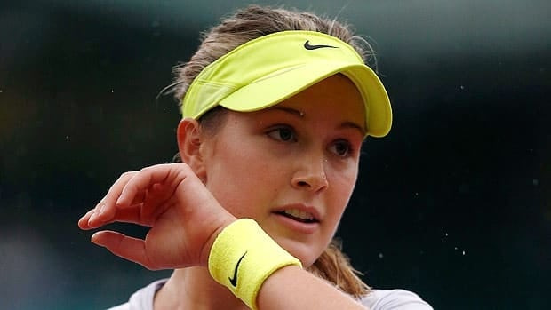 Eugenie Bouchard, seen at the French Open, saw her ranking rise Monday but couldn't gain the win in Birmingham.