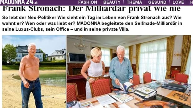 Austro-Canadian businessman and billionaire Frank Stronach poses bare-chested for Austrian newspaper photographers.