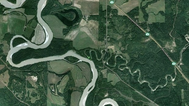 The Holmes River empties into the Fraser River southeast of McBride, B.C.