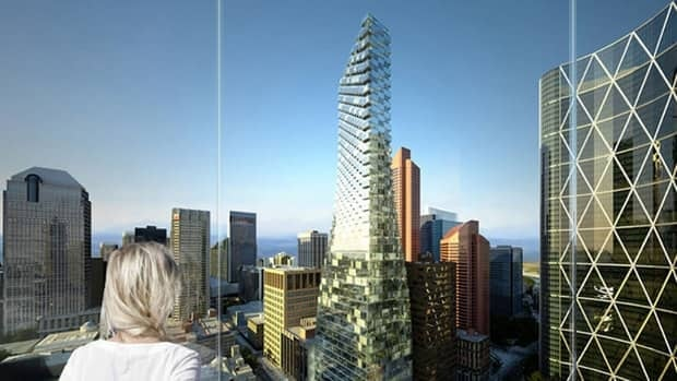 An artist's rendering of Telus Sky, a new tower slated for downtown Calgary.