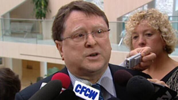 Envision Edmonton chairman Charles Allard speaks to reporters in September 2010.