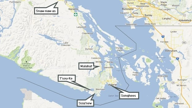 The five First Nations that are part of the Te'mexw Treaty Association are all based on mid- and southern Vancouver Island.