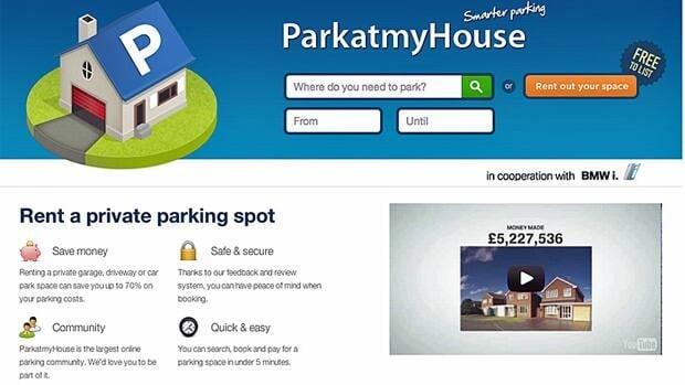 The online service Parkatmyhouse connects drivers with available parking spaces.