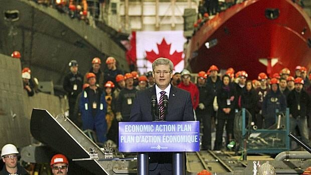 Was it just a year ago? Prime Minister Stephen tells workers at Halifax Shipyard in January 2012 that the government has agreed in principle to a $25 billion revitalization program for Canada's navy, which they will undertake.