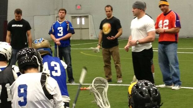 Geoff Snider, the only Canadian asked to participate in a lacrosse clinic in Newtown, Conn., following December's tragedy, takes questions from young athletes.