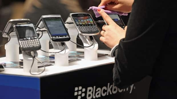 Blackberry smartphones shown on display at the CeBIT 2012 technology trade fair in Hanover in March. Sean Gallup/Getty