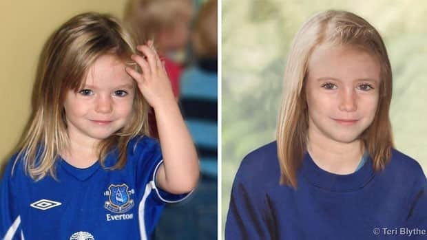 The two images released by the Metropolitan Police shows a photo of four year old missing child Madeleine McCann and an age progression computer generated image of her at 9 years old.