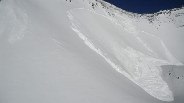 A man died after triggered an avalanche in a bowl area under Mount Sifton in B.C.'s Glacier National Park on Sunday.