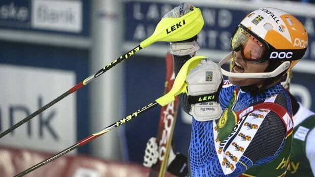 Winner Andre Myhrer of Sweden celebrates after the second run of the first men's World Cup slalom of the season in Levi, Finland on Sunday.