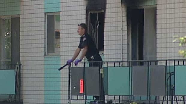 An apartment fire in south Edmonton forced residents to jump from their balconies Sunday. The fire was deliberately set.