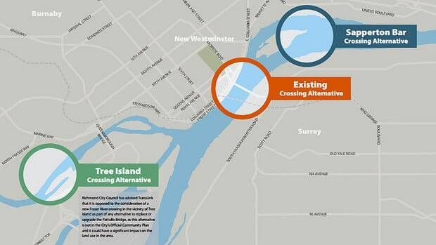 TransLink is considering three new sites for the new crossing to replace the Pattullo Bridge, which runs between Surrey and New Westminster, B.C.