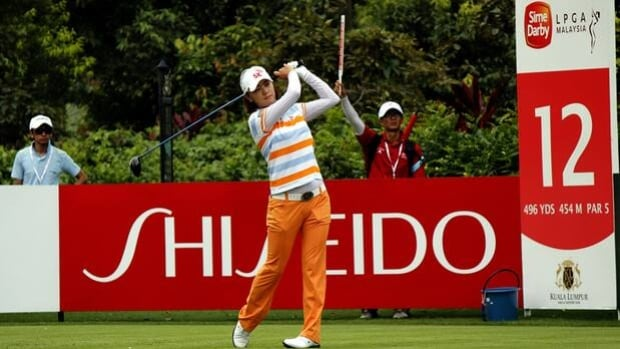 Na Yeon Choi hits a tee shot on the 12th hole at the Sime Darby LPGA Malaysia on Thursday.