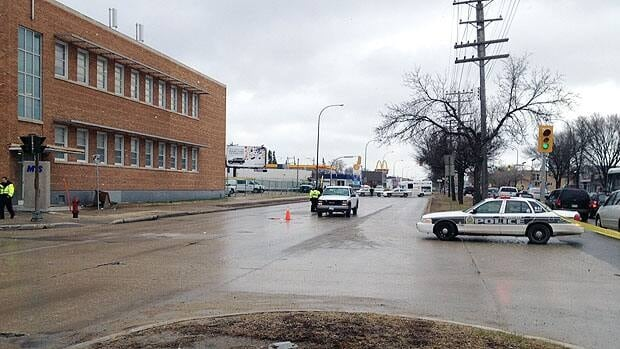 Winnipeg police were on scene at Main Street and Leila Avenue after an elderly woman was hit by a vehicle around 4 p.m. Wednesday.