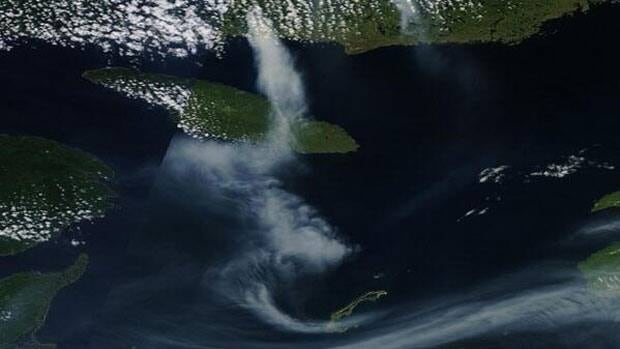 This satellite image from NASA shows the smoke plume from Quebec moving over the Gulf towards the Maritimes.