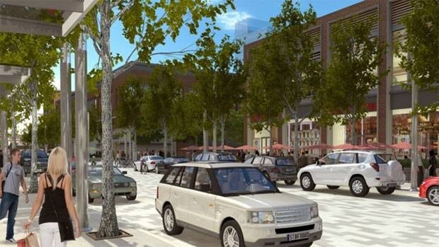 Design images of the new Lansdowne show parked cars alongside shops but transportation to Lansdowne is still a major concern for the area's councillor.