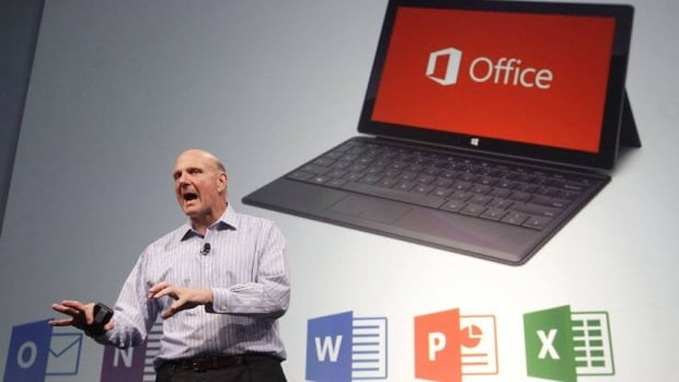 "Microsoft CEO Steve Ballmer speaks in San Francisco, Monday, July 16, 2012. The company admits it has ""fallen short"" of its antitrust commitments with the European Commission."